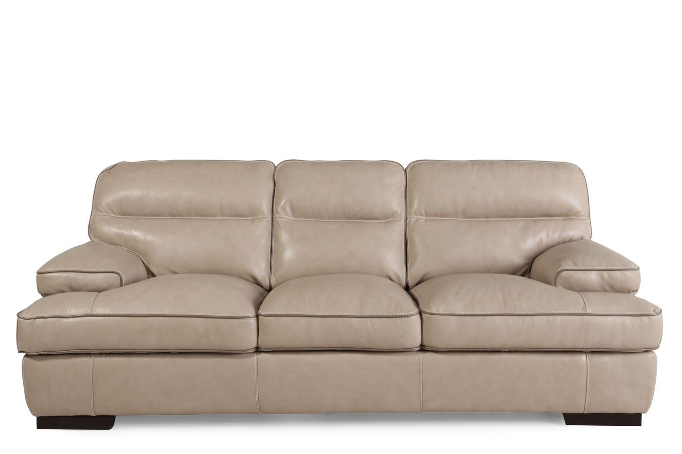 Contemporary leather 91 sofa in wheat mathis brothers for Contemporary leather furniture