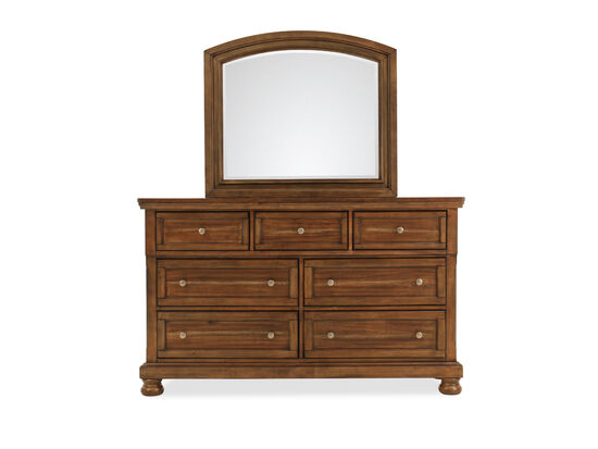 Two-Piece Traditional Seven-Drawer Dresser and Mirror in Brown