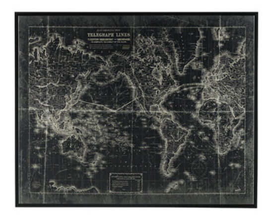Map Design Casual Framed Canvas Wall Art in Black/White