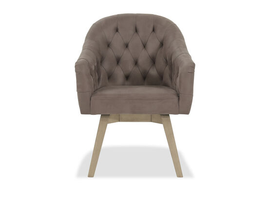 "Microfiber Mid-Century Modern 26"" Tufted Dining Arm Chairin Gray"