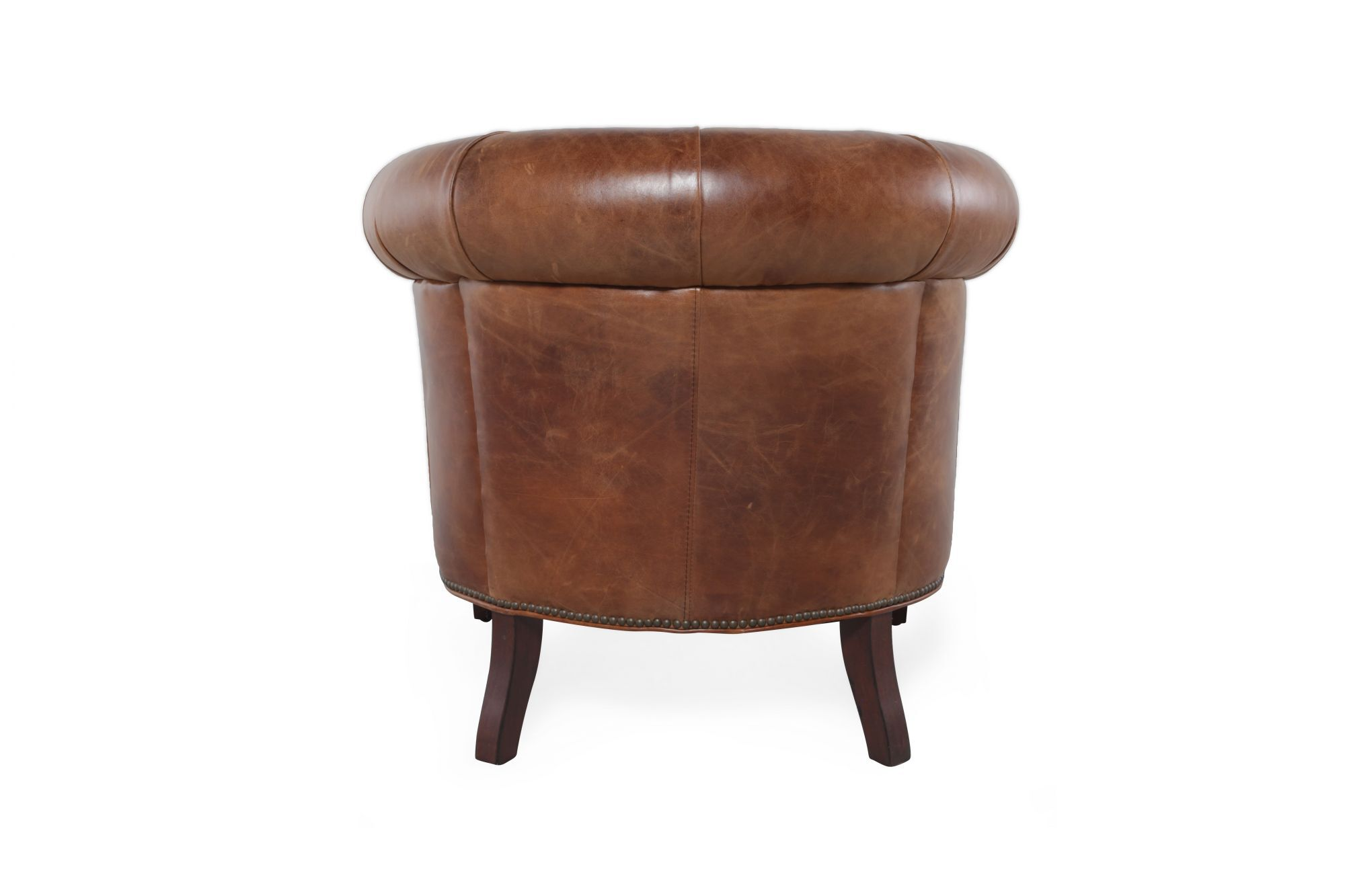 Amazing Button Tufted Leather Tub Chair In Chestnut Brown Mathis Creativecarmelina Interior Chair Design Creativecarmelinacom