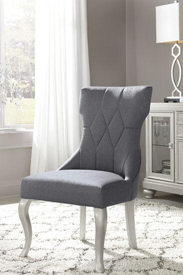 "Diamond Patterned 23"" Upholstered Side Dining Chairin Dark Gray"