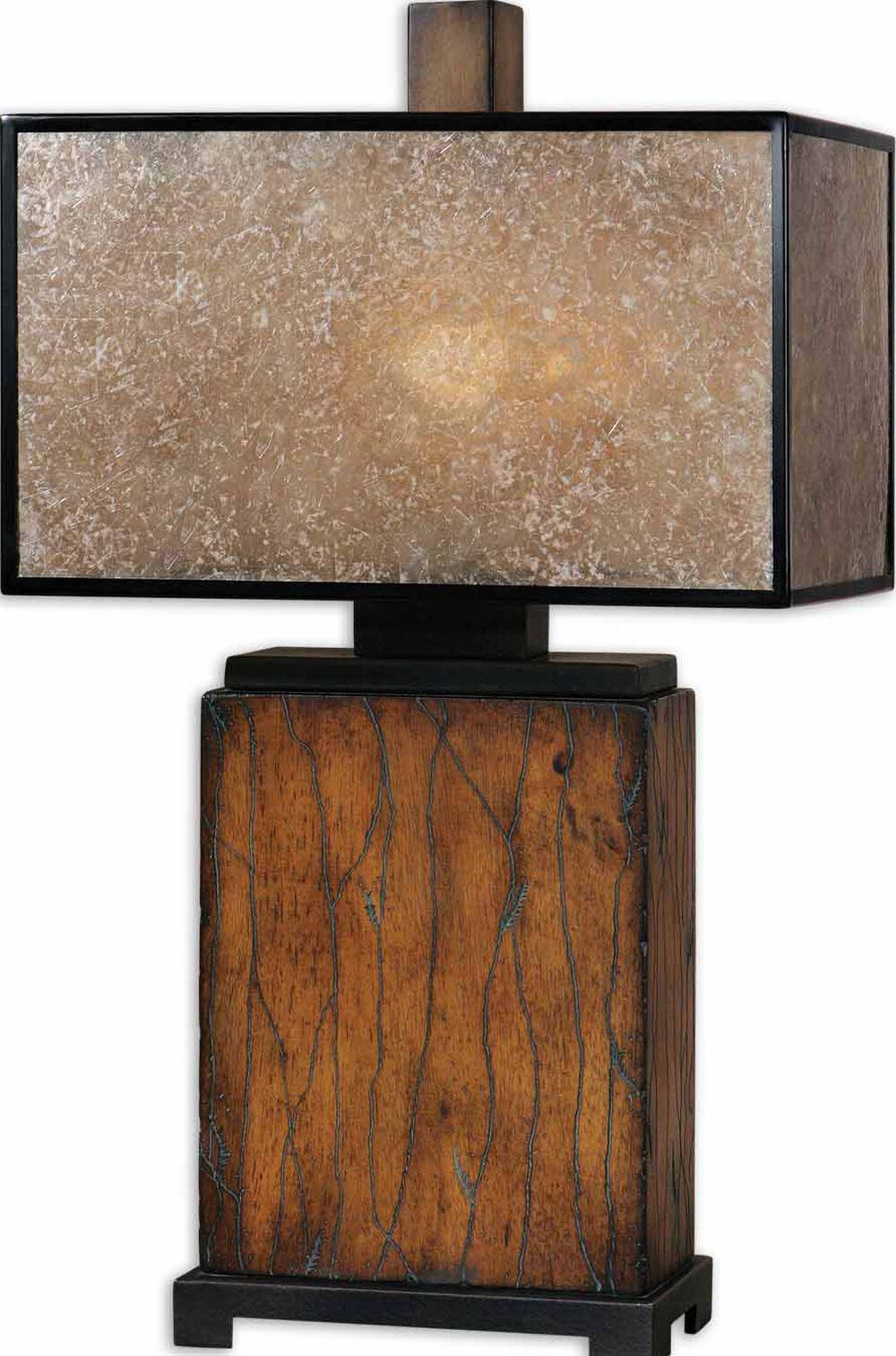 Rectangular Solid Wood Table Lamp In Rustic Mahogany Mathis