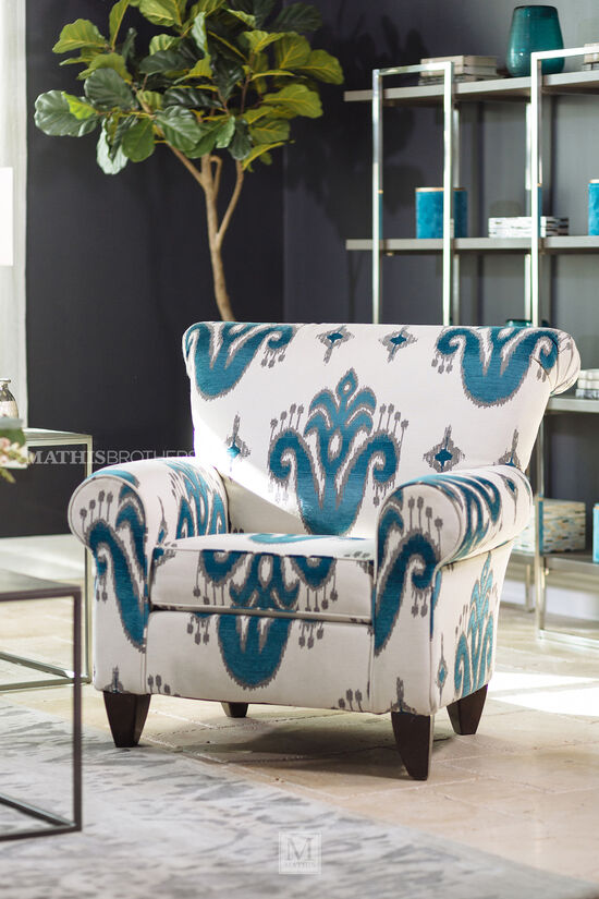 "Patterned Traditional 37"" Accent Chair in Cream"
