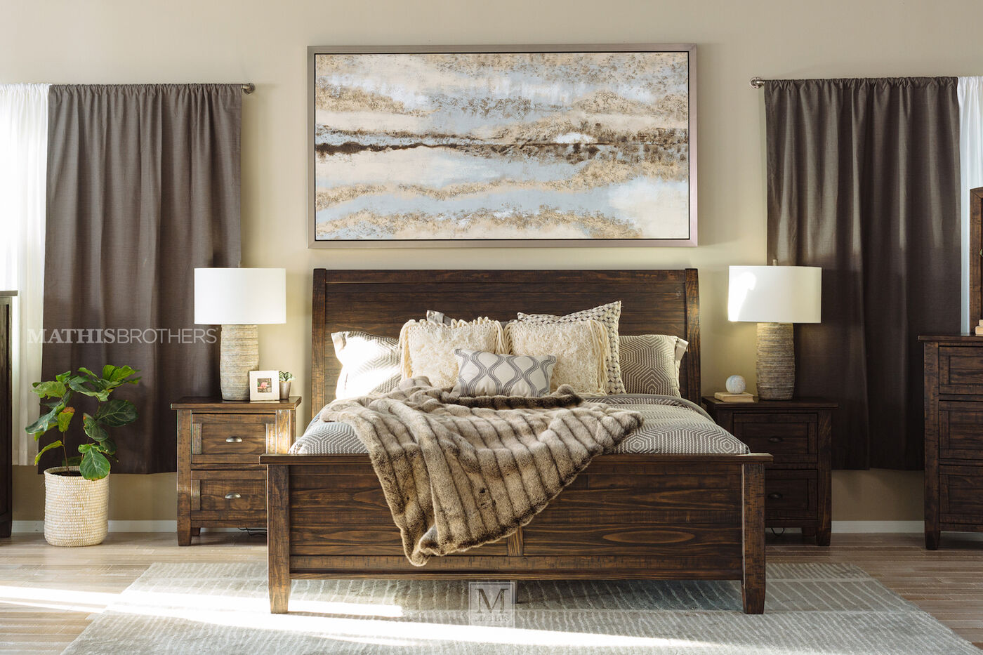 Three Piece Traditional Solid Wood Bedroom Set In Golden Brown Mathis Brothers Furniture
