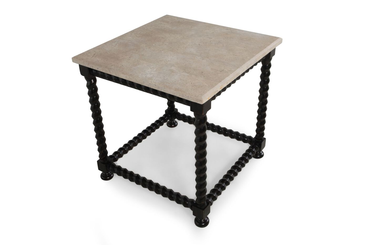 Square Contemporary End Table With Stone Top Nbsp