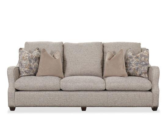 """Contemporary Nailhead Accent 96"""" Sofa in Sandstone"""
