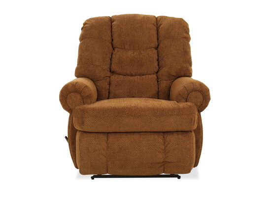 "44"" Chevron-Patterned Wall Saver Recliner in Brown"