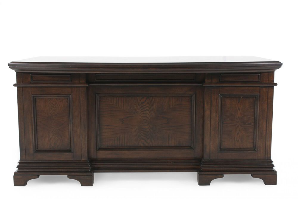 """66"""" Traditional Curved Executive Desk in Molasses Brown"""