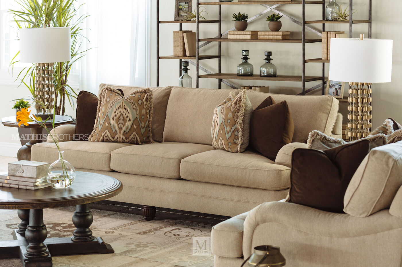 casual 96 5 textured sofa in beige mathis brothers furniture. Black Bedroom Furniture Sets. Home Design Ideas
