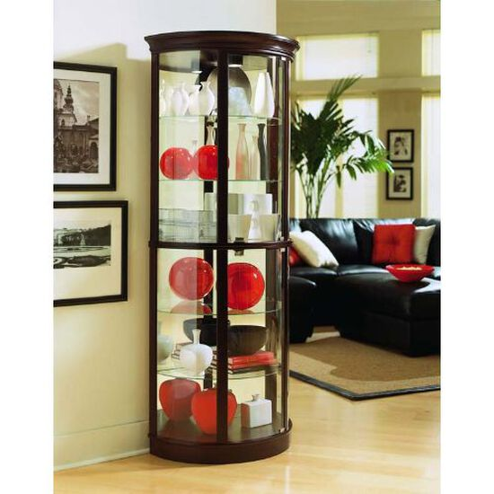Glass Shelf Traditional Half Round Curio in Chocolate Cherry