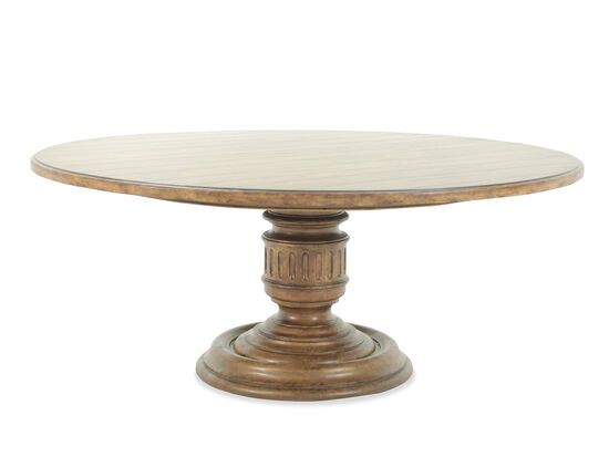 """Traditional 72"""" Round Pedestal Table in Medium Brown"""