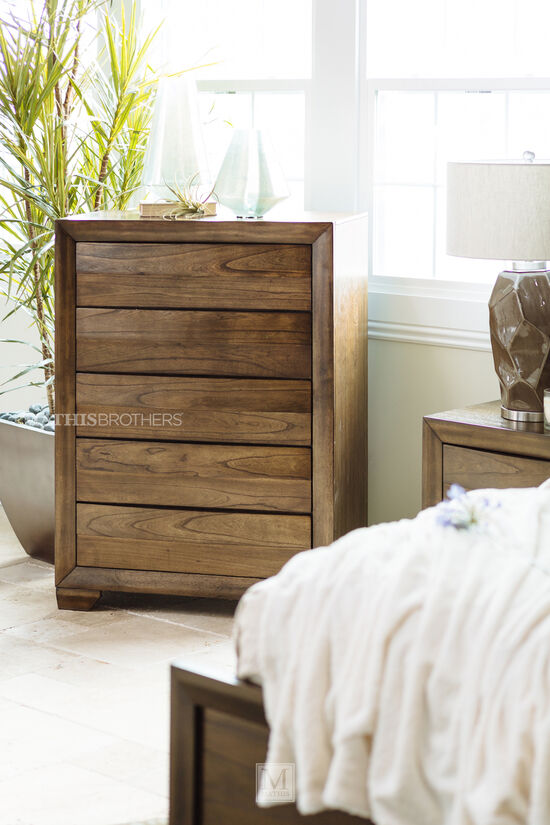 """48"""" Five-Drawer Contemporary Chestin Rich Brown"""