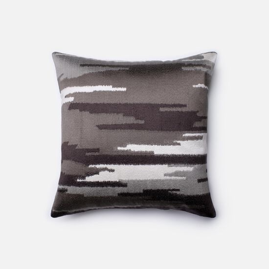 """Contemporary 18""""x18"""" Cover w/Poly Pillow in Charcoal/Grey"""