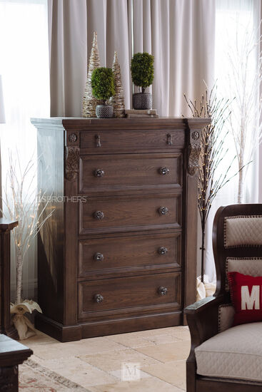 "58"" Traditional Five-Drawer Chest in Brown"