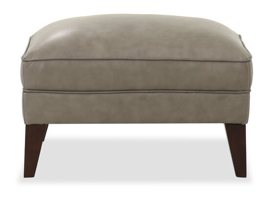 Casual Leather Ottoman in Gray