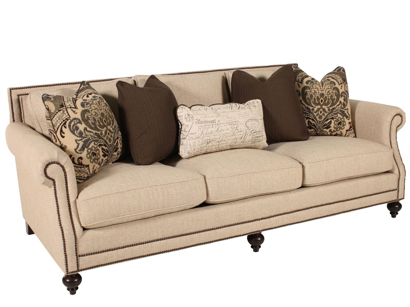 High profile nailhead accented 92 5 sofa in cream mathis brothers furniture Bernhardt living room furniture