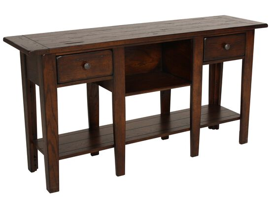 Two-Drawer Country Sofa Table in Dark Oak