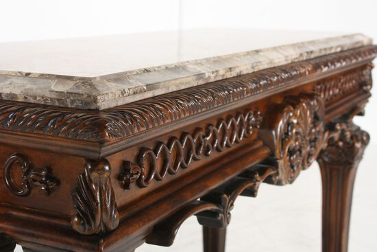 Carved Legs Formal Console Table in Brown