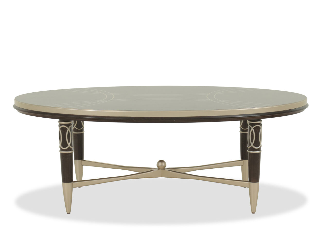 Oval Scrollwork Modern Cocktail Table In Dark Brown