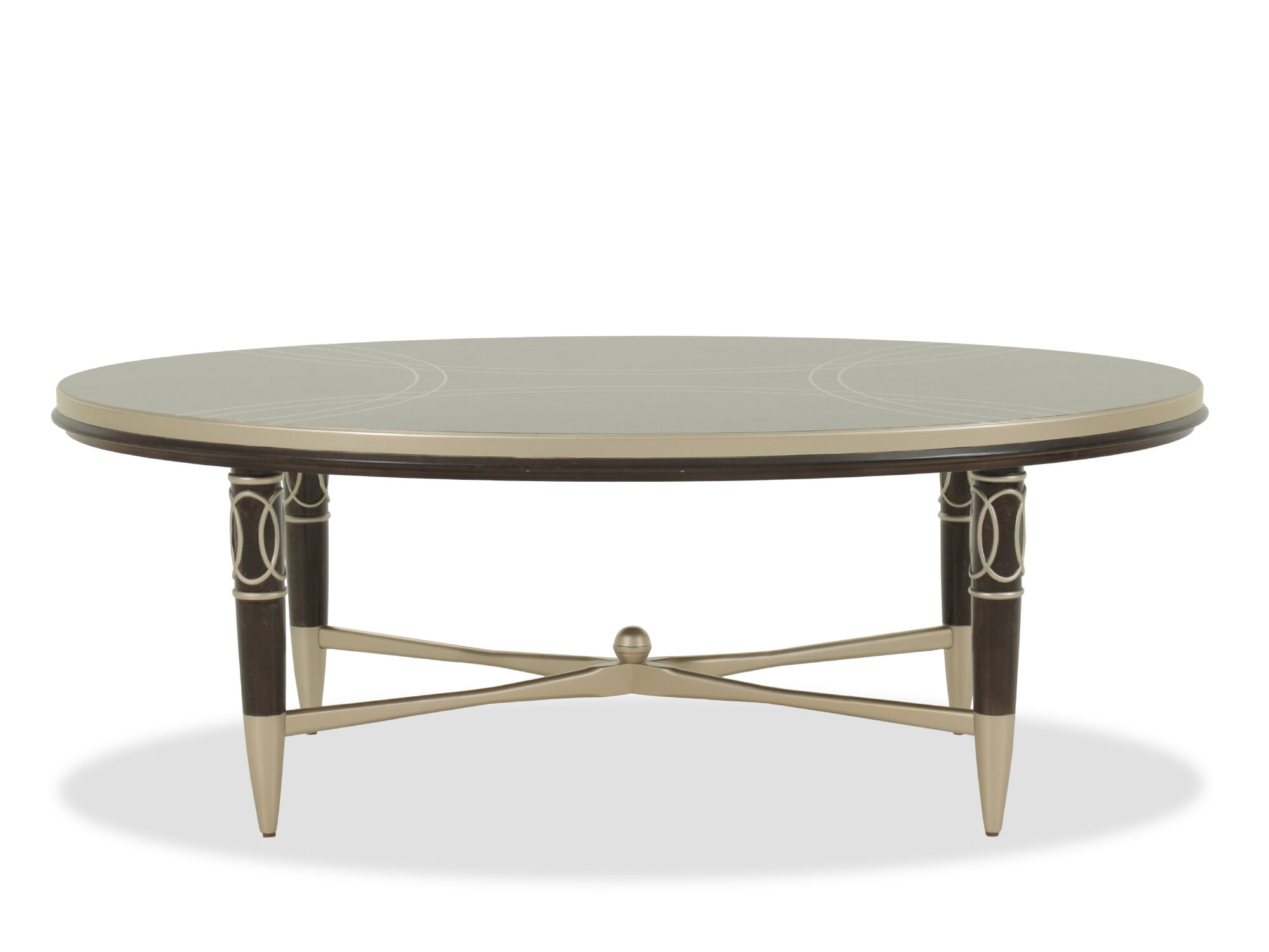 Oval Scrollwork Modern Cocktail Table In Dark Brown Mathis Brothers Furniture