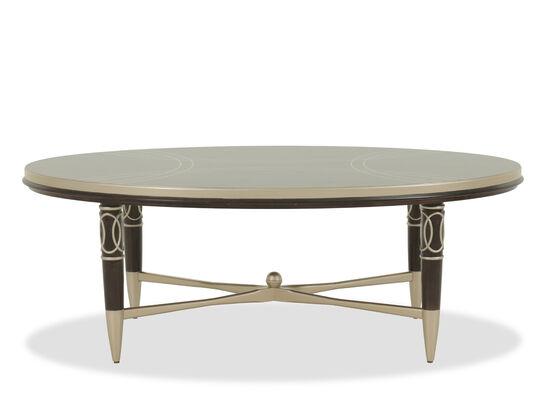 Oval Scrollwork Modern Cocktail Tablein Dark Brown