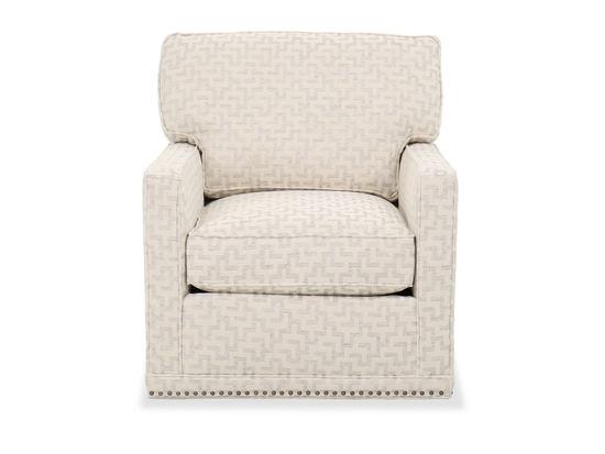 Transitional Geometric Pattern Swivel Chair in Bone