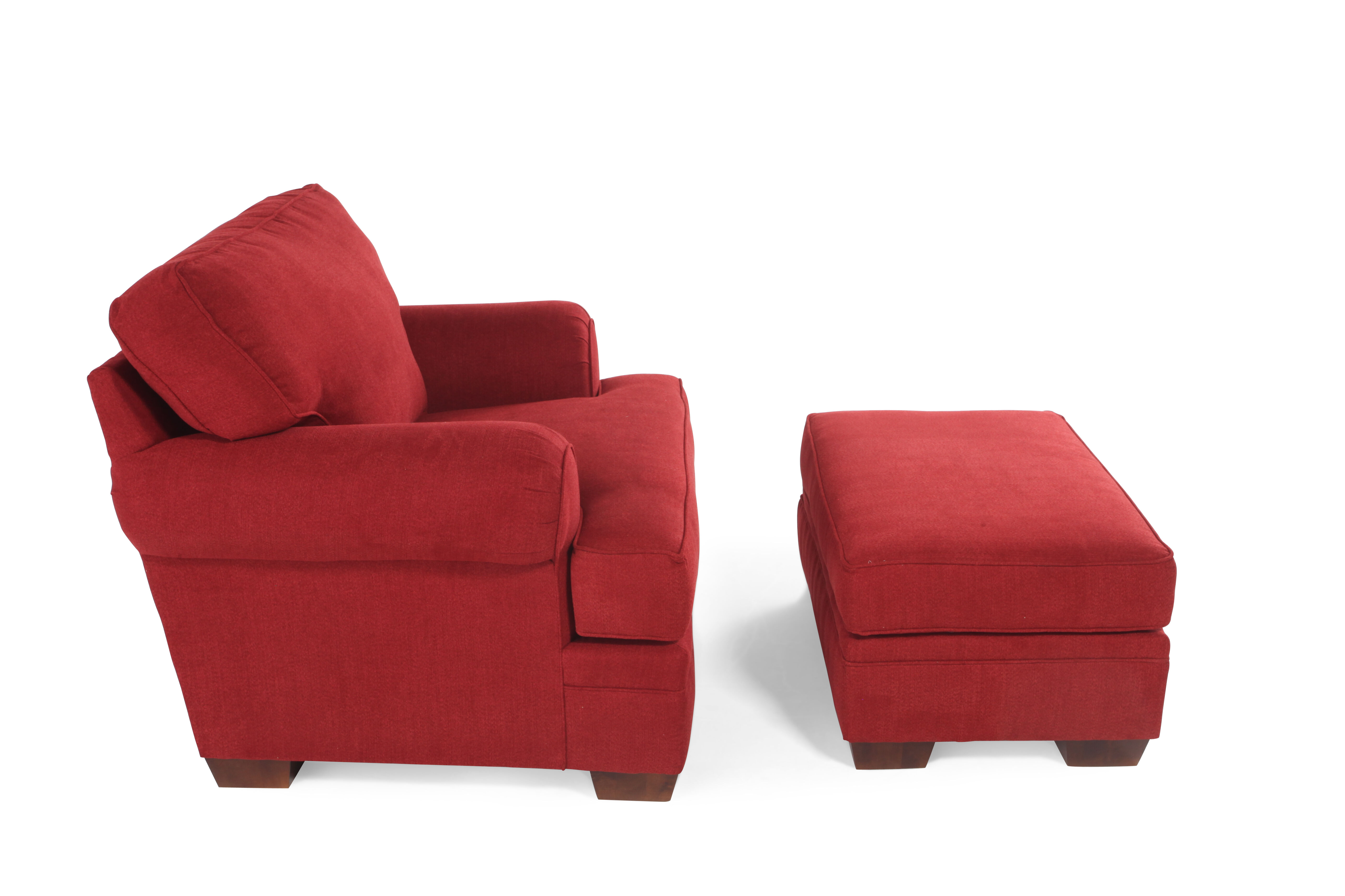 Genial Traditional Chair And Ottoman In Red