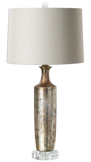 Textured Ceramic Base Lamp in Metallic Bronze