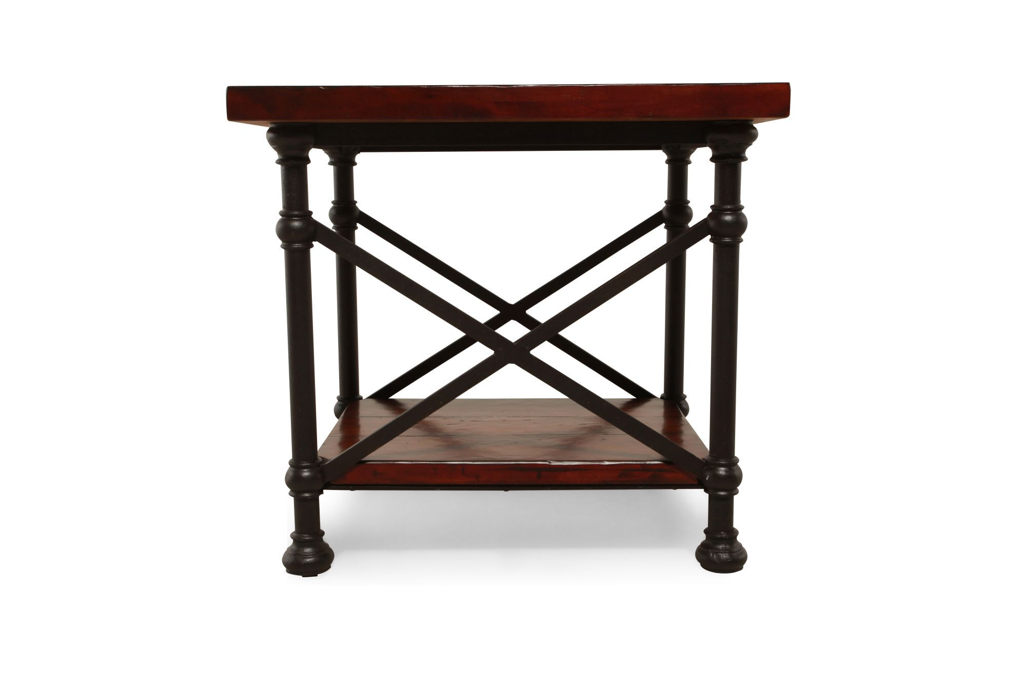 Distressed Traditional End Tableu0026nbsp;in Glossy Molasses