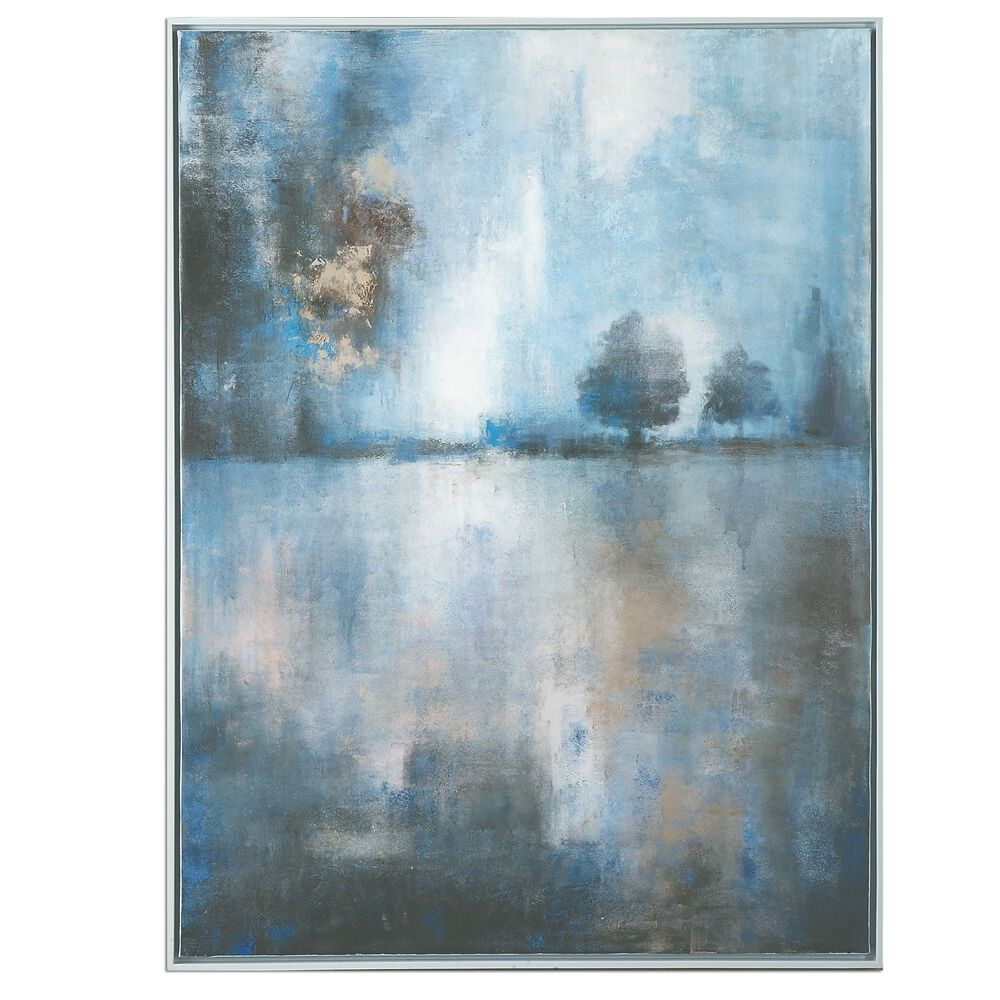 Hand Painted Lake Framed Canvas Wall Art