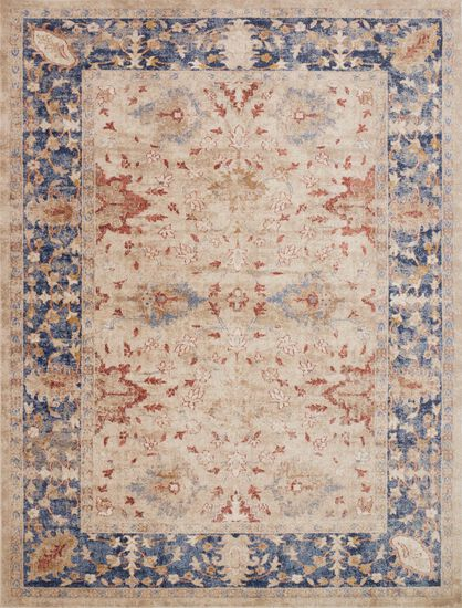 "Traditional 2'-7""x4' Rug in Sand/Blue"
