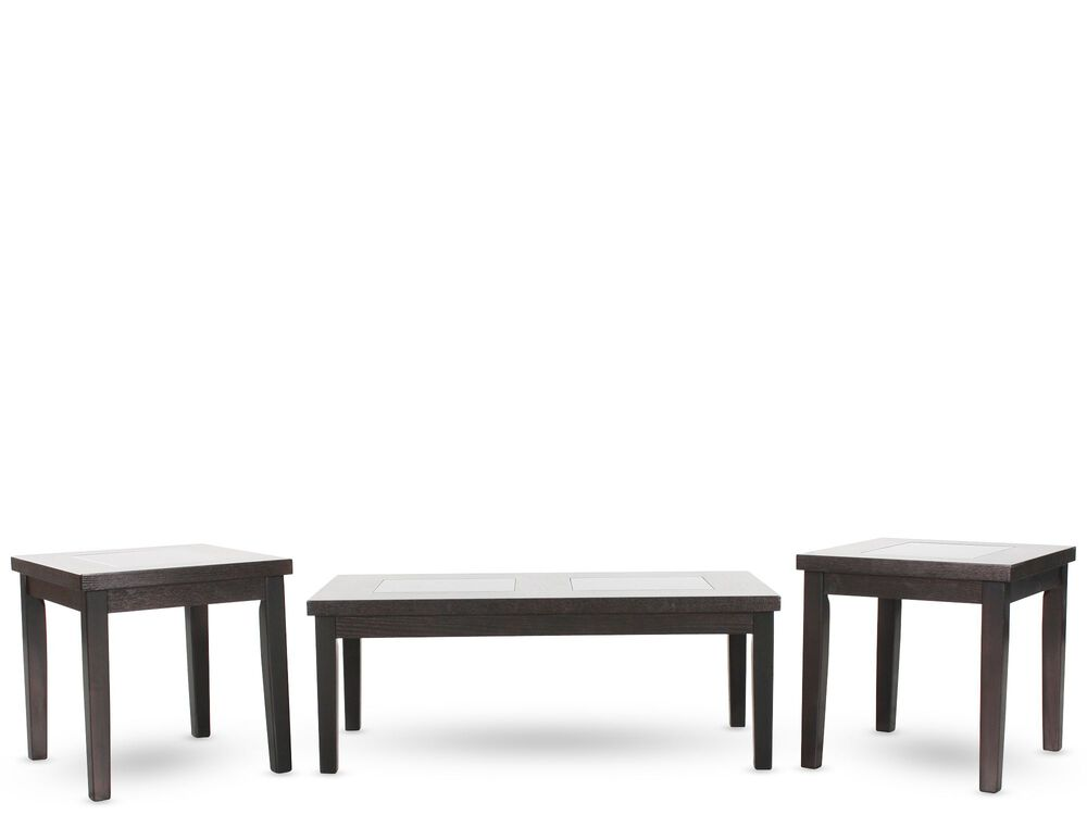 Three-Piece Rectangular Contemporary Coffee Table Set in Dark Brown