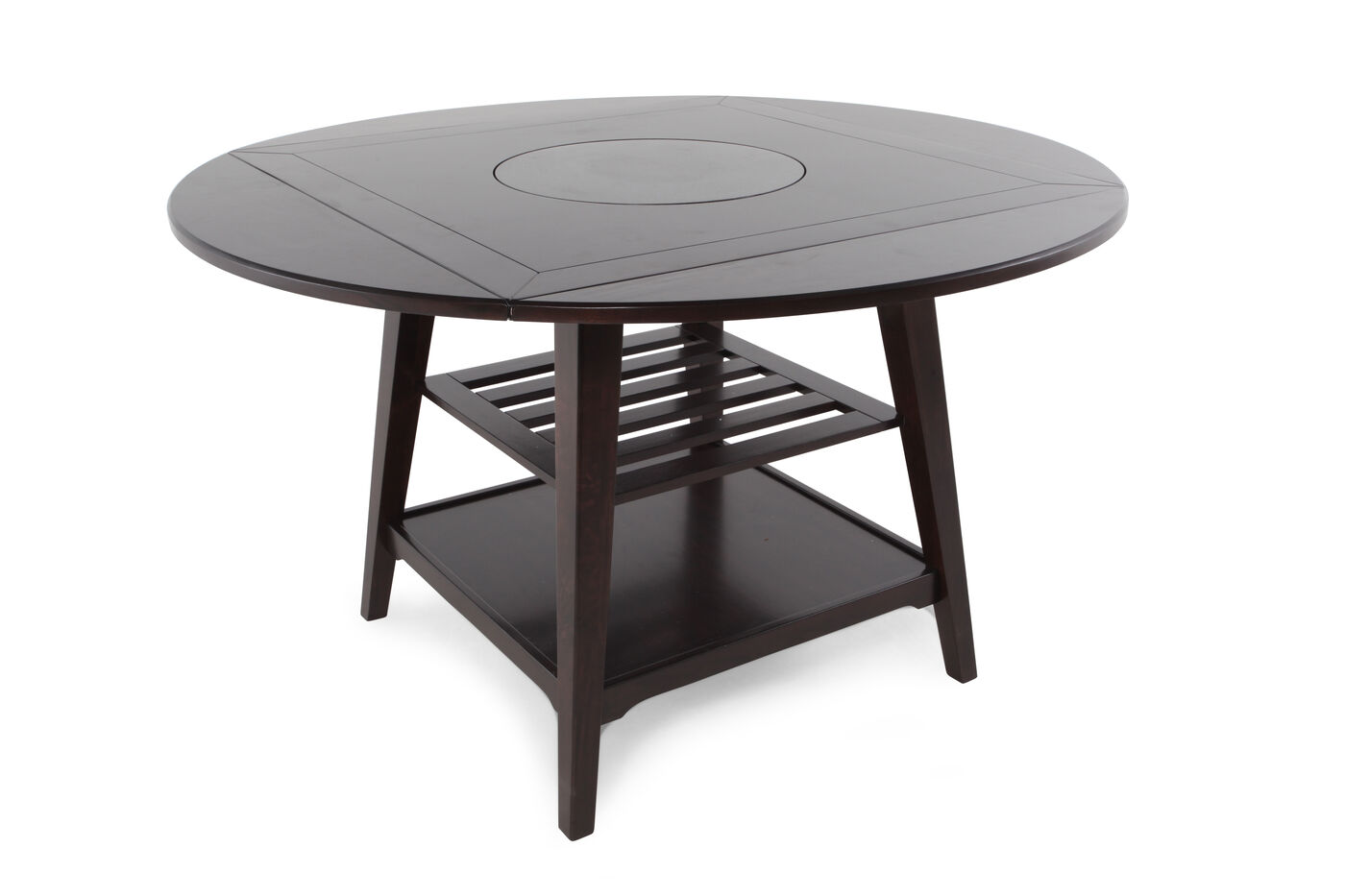 two shelved 59 lazy susan dining table with four drop leaves in dark brown espresso mathis. Black Bedroom Furniture Sets. Home Design Ideas