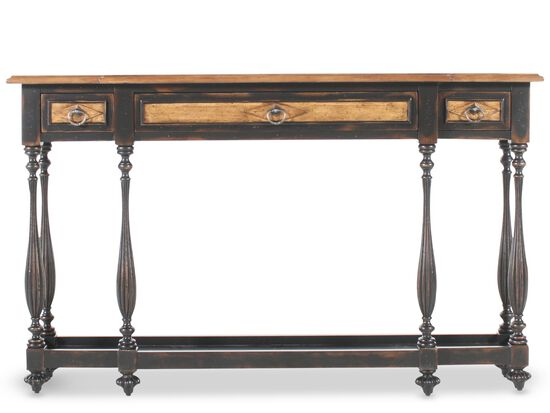 Turned Legs Country Console Table in Ebony