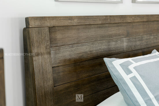 Contemporary Planked Panel Bed in Brown
