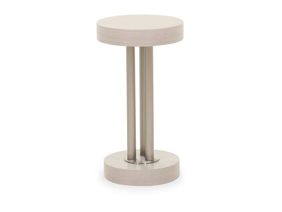 Poplar Solids Round Chairside Table in Linear Gray