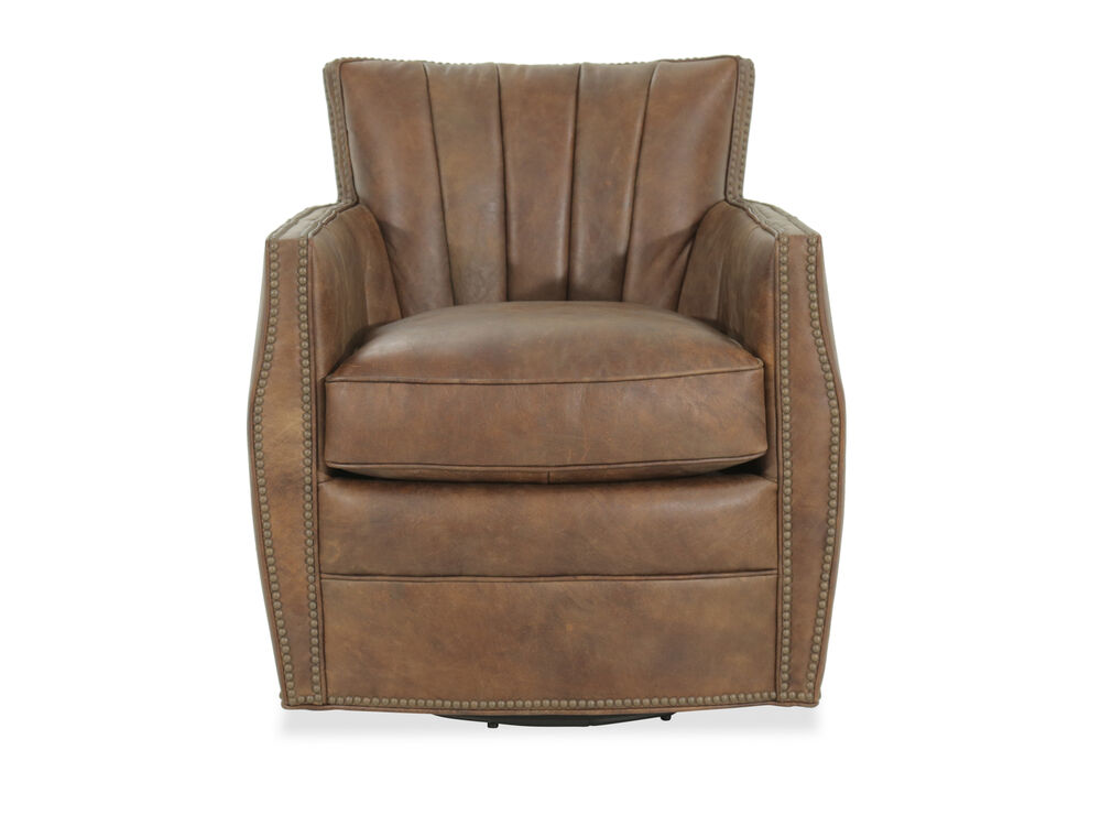 Nailhead Trimmed Leather 30 Quot Swivel Club Chair In Brown
