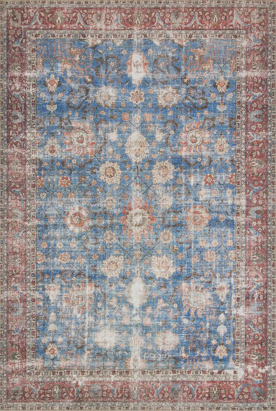 """Traditional 2'-3""""x3'-9"""" Rug in Blue/Brick"""