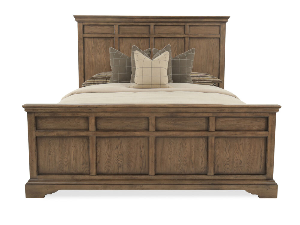 Transitional Paneled Brown Bed in Brown