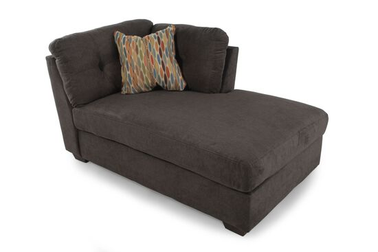 "Microfiber 39"" Right Arm Facing Chaise in Chocolate Brown"