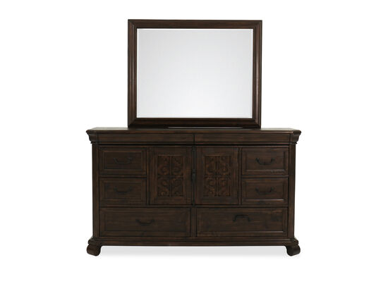 Two-Piece European Classic Eight-Dresser & Mirror in Aged Bourbon