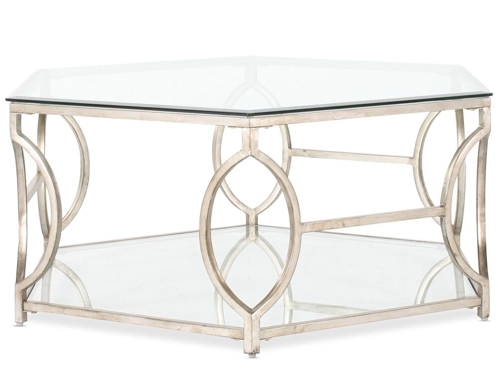 Hexagonal Traditional Cocktail Tablein Antique Gold