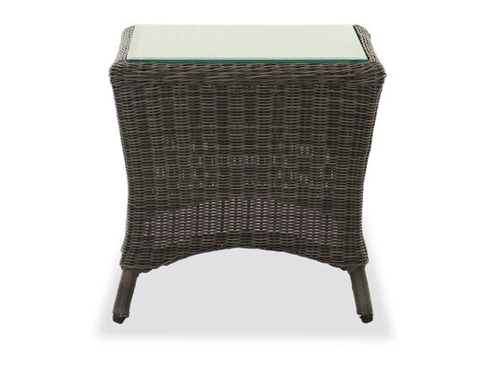 Glass Top Woven End Table in Dark Gray