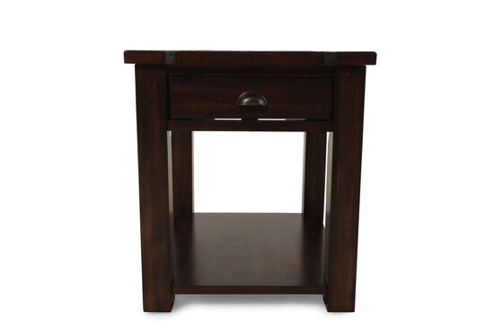 Rectangular One-Drawer Contemporary End Table in Dark Bronze