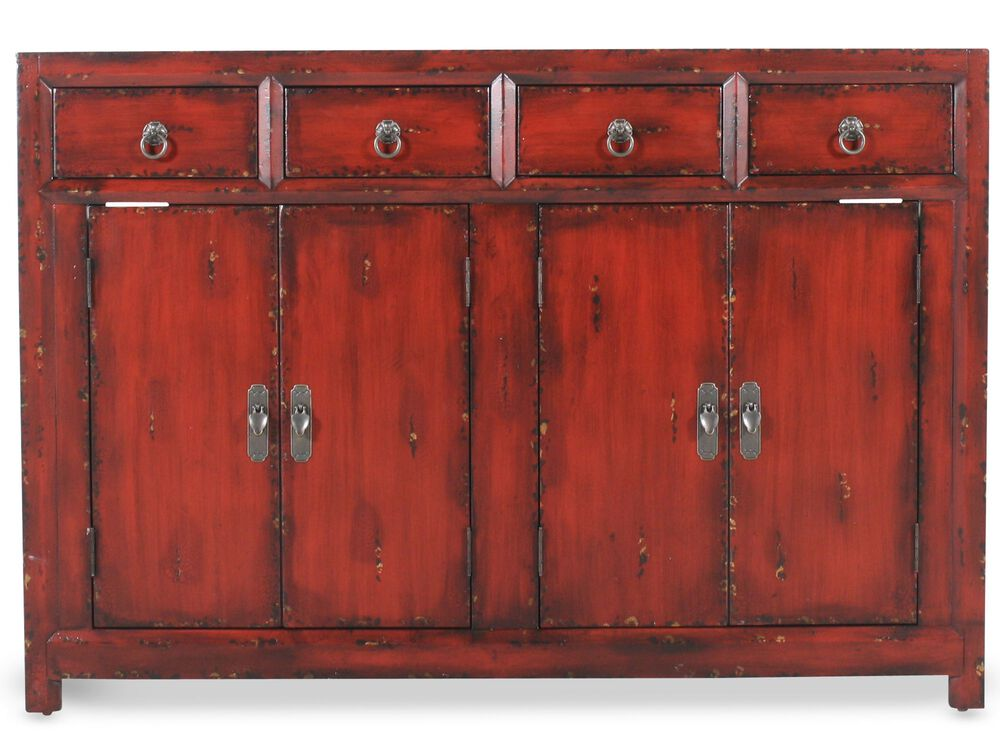 Transitional Cabinet In Dark Red