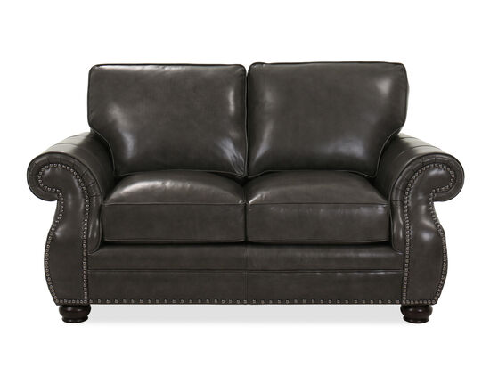 Contemporary Leather Loveseat In Charcoal