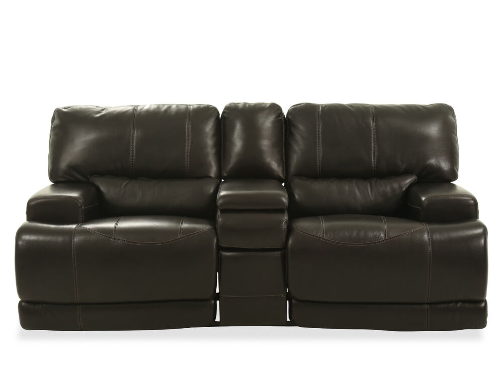 Power Reclining Traditional Leather 80 Quot Loveseat In