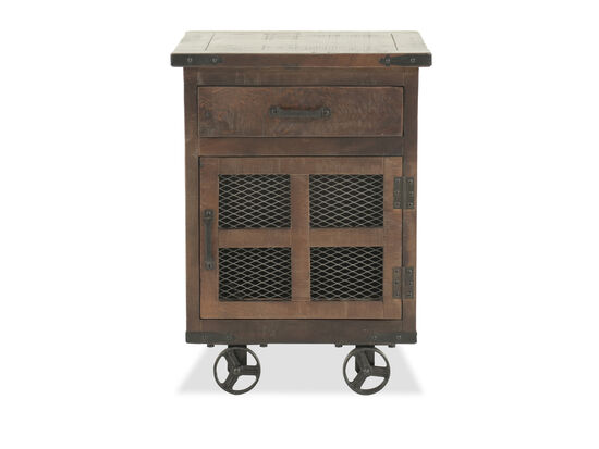 Solid Mango Wood Wire Mesh-Inset End Table in Brown