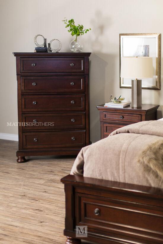 Four-Piece Traditional Storage Bedroom Set in Dark Brown